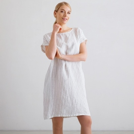 Kjole i hør, hvid / marineblå, Alice Stripe M