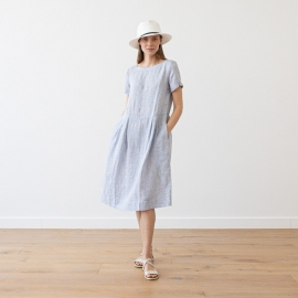 Kjole i hør, marineblå, Adel Stripe