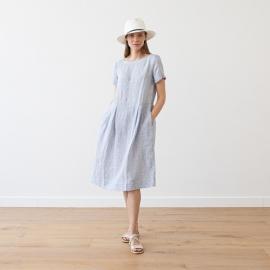 Stribet kjole i hør, marineblå, Adel