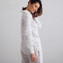 Pyjamas i hør, off white / marineblå, Alma Window Pane