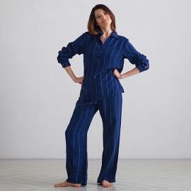 Pyjamas i hør, marineblå / off white, Alma Stripe L