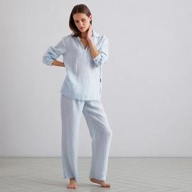 Pyjamas i hør, Alma Pinstripe Sky Blue
