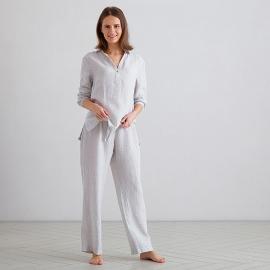 Pyjamas i hør, Alma Pinstripe Silver