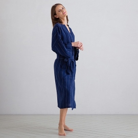 Badekåbe i hør, marineblå / off-white, Alma Stripe L