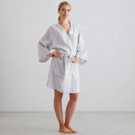 Badekåbe i hør, hvid / marineblå, Alma Check