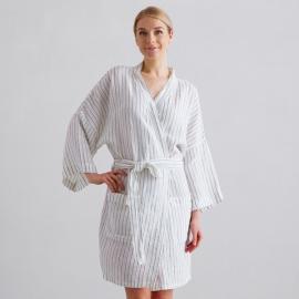 Badekåbe i hør, off-white / marineblå, Alma Stripe M