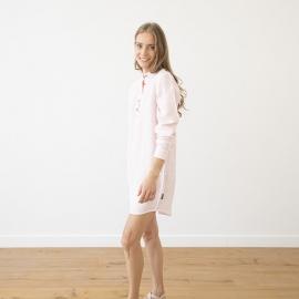 Natskjorte i hør, lyserød, Alma Pinstripe