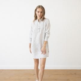 Natskjorte i hør, off-white / marineblå, Alma Check