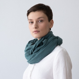 Sommertørklæde i hør, mørkegrønt, Garza