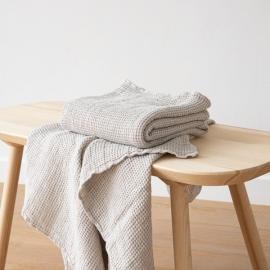 Badehåndklæde af hør, sølv, Waffle