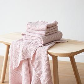 Lyserødt badehåndklæde-sæt i hør, Waffle