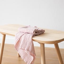 Lyserødt sæt af badehåndklæder i hør, Waffle