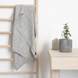 Badehåndklæde i hør, sort / naturfarvet, Brittany