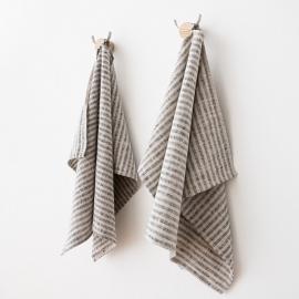 Håndklæder i hør, 2 stk., sort/naturfarvet, Brittany