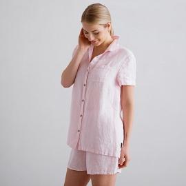 Pyjamas i hør, lyserød, nålestribet, Emilia