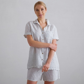 Pyjamas i hør, off white / marineblå, ternet, Emilia