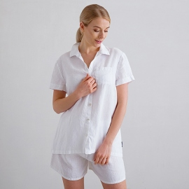 Pyjamas i hør, hvid, Emilia