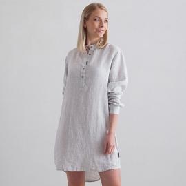 Natskjorte i hør, sølv, Alma Stripe