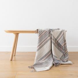 Plaid, indigo / naturfarvet, stribet, Paolo