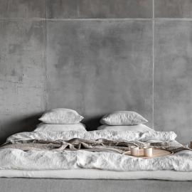 Hovedpudebetræk i hør, sølv, Rhomb, stenvasket