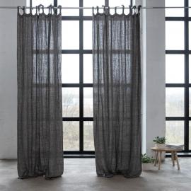 Gardin med bindebånd, 100% hør, natural black, rustico washed