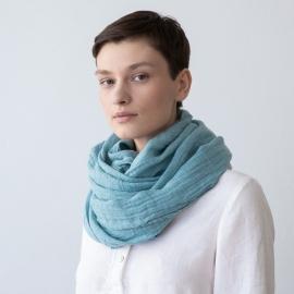 Sommertørklæde i hør, stenblå, Garza