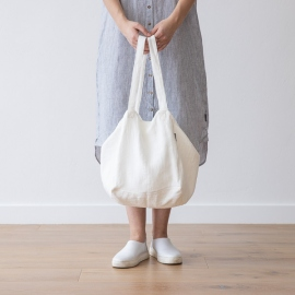 Strand-taske i hør, off white, Lara
