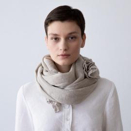 Sommertørklæde i hør, naturfarvet, Garza