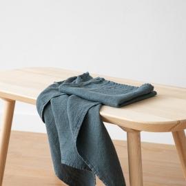 Badehåndklæder i hør, 2 stk., Balsam Green, Waffle