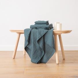 Badehåndklæde-sæt i hør, Balsam Green, Waffle