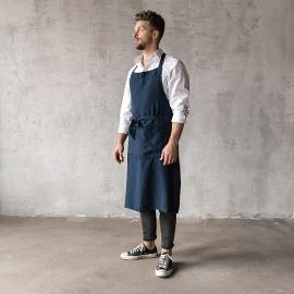 Smækforklæde til mænd, forvasket, indigo
