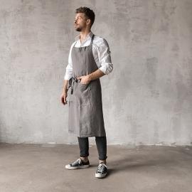 Smækforklæde til mænd, forvasket, stålgråt