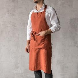 Smækforklæde til mænd, forvasket, mørkerødt