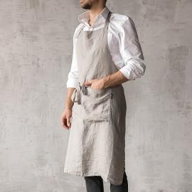 Smækforklæde til mænd, forvasket, taupe