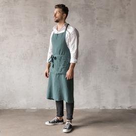 Smækforklæde til mænd, forvasket, mørkegrønt