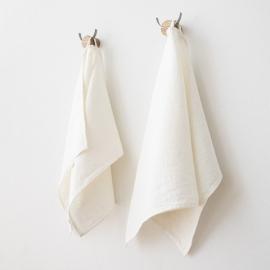 Håndklæde-sæt i hør, 2 stk., off white, Twill