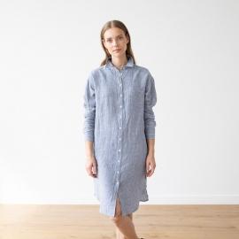 Skjortekjole i hør, blå / hvid, Paula Gingham