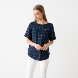 Hørbluse, marineblå / off white, Luisa Window Pane