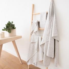 Sæt af badehåndklæder i hør, graphite, Brittany
