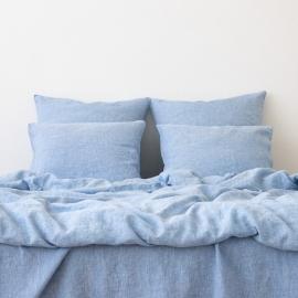 Blåt sengesæt i hør, forvasket