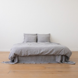 Grafitfarvet sengesæt i hør, forvasket