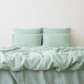 Myntefarvet sengesæt i hør, forvasket