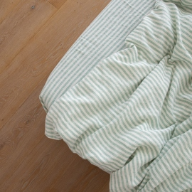 Boxlagen i hør, myntefarvet, forvasket, Ticking Stripe
