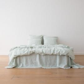 Myntefarvet sengesæt i hør, forvasket, Ticking Stripe
