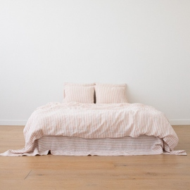Lyserødt sengesæt i hør, forvasket, Ticking Stripe