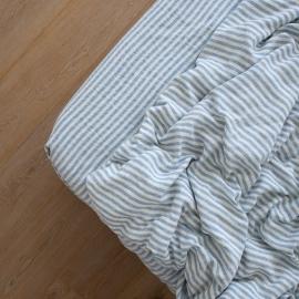 Blåt boxlagen i hør, forvasket, Ticking Stripe
