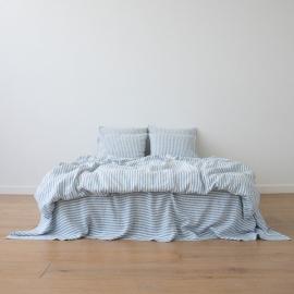 Blåt sengesæt i hør, forvasket, Ticking Stripe