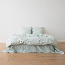 Myntefarvet sengesæt i hør, forvasket, Pinstripe