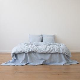 Blåt sengesæt i hør, forvasket, Pinstripe