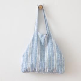 Blå strandtaske i hør, Multistripe